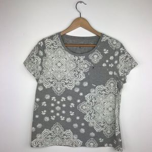 Tommy Hilfiger gray and white picker tshirt